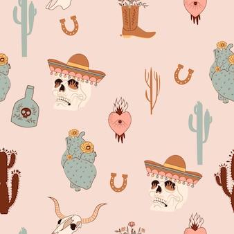 Naadloos patroon met mystieke, wilde westen en mexicaanse elementen. schedel in mexicaanse hoed, cactus, hoefijzer, hart, buffelschedel.