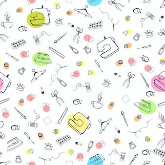 Naadloos patroon met naai- en kledingspullen naaimachine en ander handwerkartikel