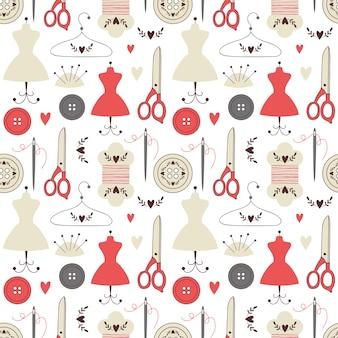 Naadloos patroon met naaiende elementen.