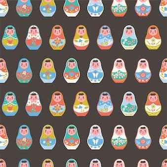Naadloos patroon met nestelende poppen.
