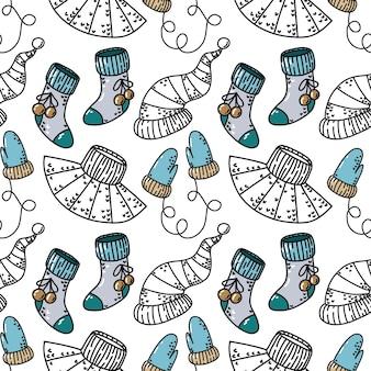 Naadloos patroon met nieuwjaarselementen van kleding