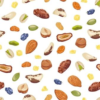 Naadloos patroon met noten en gedroogd fruit.