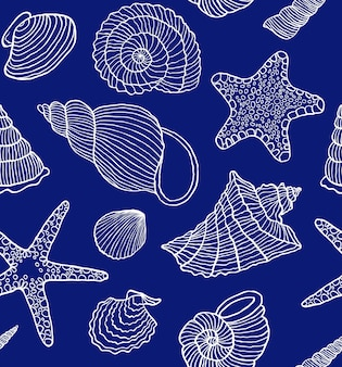 Naadloos patroon met oceaandoppen