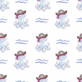 Naadloos patroon met octopus watercolo
