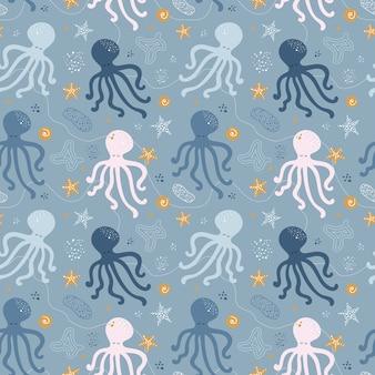 Naadloos patroon met octopus.