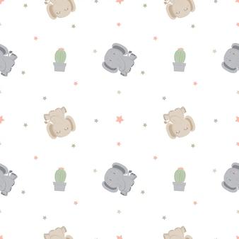 Naadloos patroon met olifant en cactus met vlotte kleur.