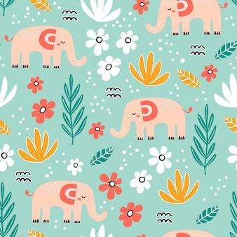 Naadloos patroon met olifant