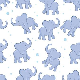Naadloos patroon met olifanten Premium Vector
