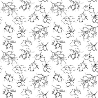 Naadloos patroon met olijven