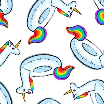 Naadloos patroon met opblaasbare rainbow unicorn. zwemring