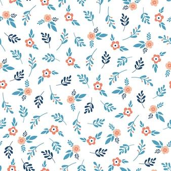Naadloos patroon met oranje bloemen en blauwe bladeren