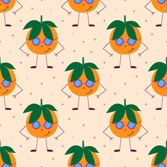 Naadloos patroon met oranje mandarijnen en groene bladeren. zacht oranje achtergrond met stippen. vector illustratie.