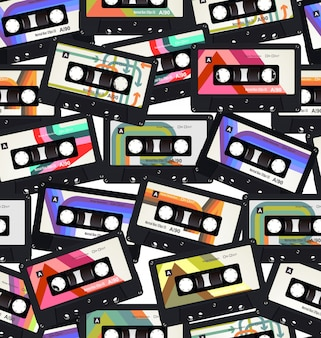 Naadloos patroon met oude audiocassettes