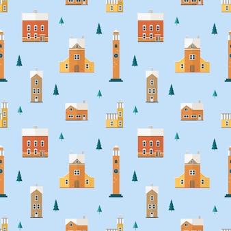 Naadloos patroon met oude gebouwen, klokkentorens en vuren bomen