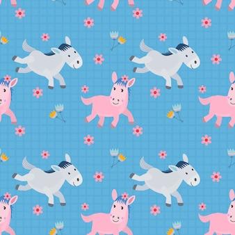 Naadloos patroon met paard die in bloementuin lopen op blauwe achtergrond.