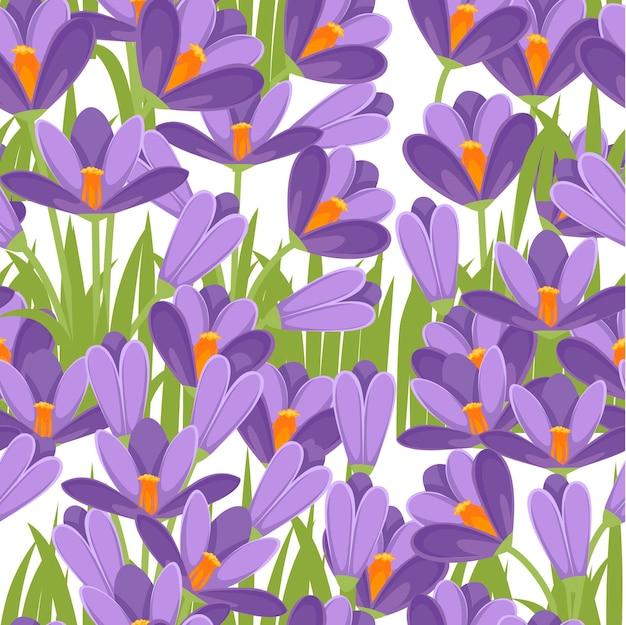 Naadloos patroon met paarse krokussen.