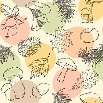 Naadloos patroon met paddestoelen en bladeren