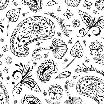 Naadloos patroon met paisley en oosterse motieven