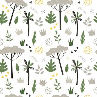 Naadloos patroon met palmen en bomen