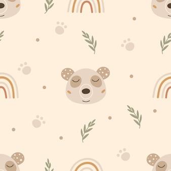 Naadloos patroon met panda's.