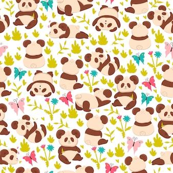 Naadloos patroon met panda's