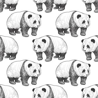 Naadloos patroon met panda.