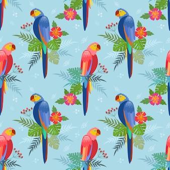 Naadloos patroon met papegaaien. palmbladen, hibiscusbloemen
