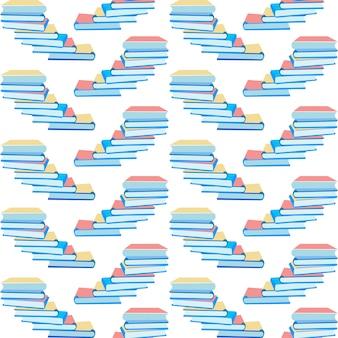 Naadloos patroon met papieren boeken stapel ontwerp