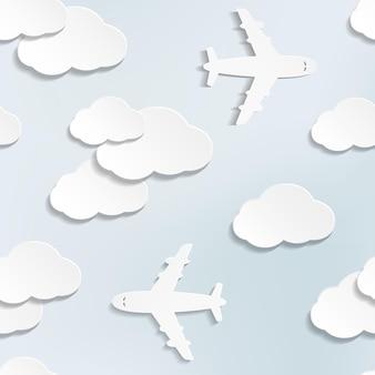 Naadloos patroon met papieren vliegtuigen en wolken