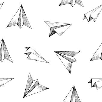 Naadloos patroon met papieren vliegtuigen.