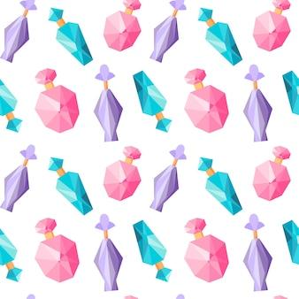 Naadloos patroon met parfumflesjes herhalende achtergrond met geur herhaald ornament