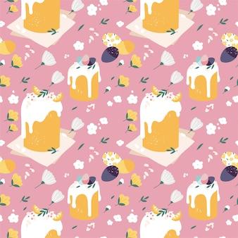 Naadloos patroon met pasen-cakes en beschilderde eieren