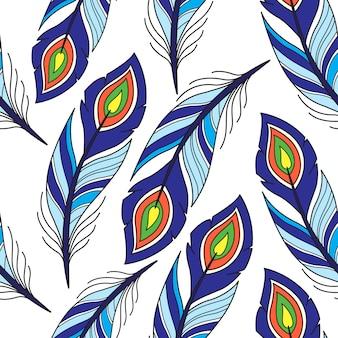 Naadloos patroon met pauwveer