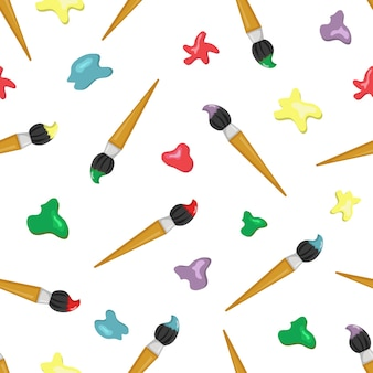 Naadloos patroon met penselen en verfvlekken