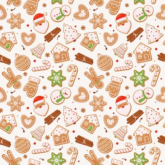 Naadloos patroon met peperkoek en pijpjes kaneel, kerstmis.