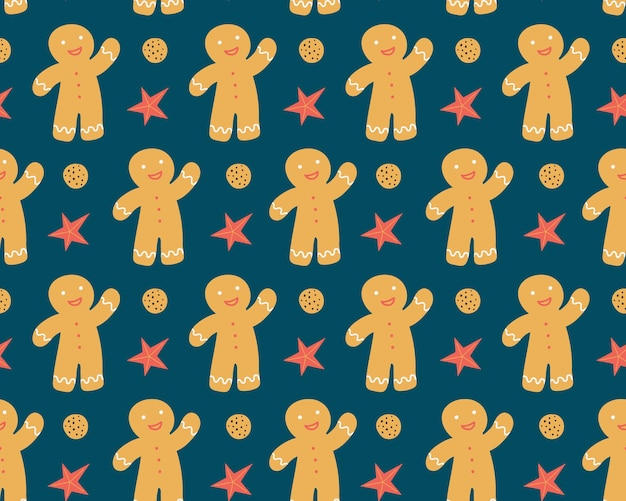 Naadloos patroon met peperkoekman vector kerstmis achtergrond