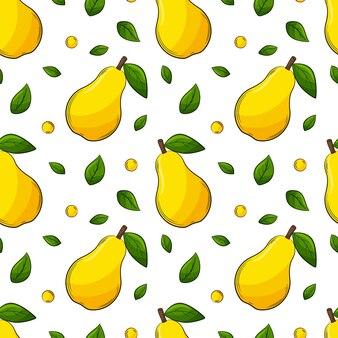 Naadloos patroon met peren en bladeren.