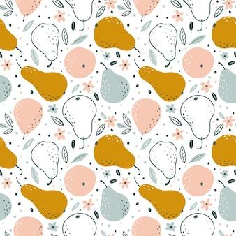 Naadloos patroon met peren in scandinavische stijl