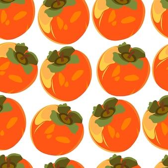 Naadloos patroon met persimmon kaki hele persimmon