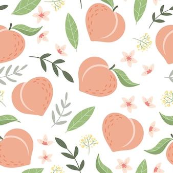 Naadloos patroon met perziken en bloemen
