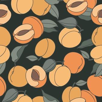Naadloos patroon met perziken.