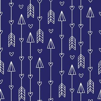 Naadloos patroon met pijlen. moderne etnische afdruk. minimalistische pijlen