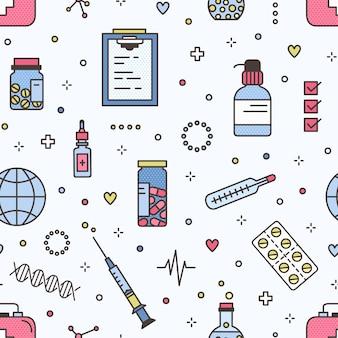 Naadloos patroon met pillen in potten en blaren en medische hulpmiddelen. achtergrond met medicijnen of drugs en laboratoriumapparatuur op lichte achtergrond. kleurrijke illustratie in moderne lijn kunststijl.