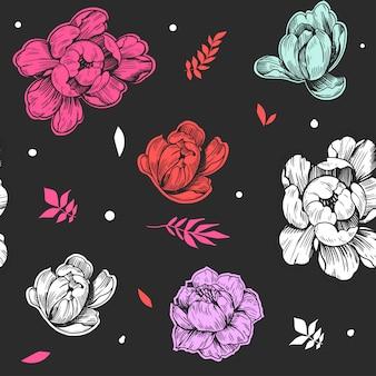 Naadloos patroon met pioenbloemen.