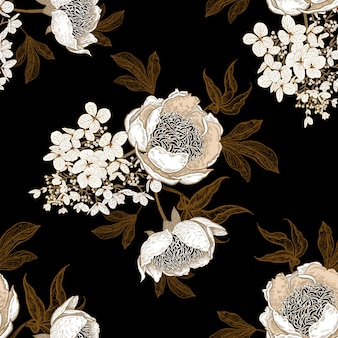 Naadloos patroon met pioenrozen en hortensia bloemen