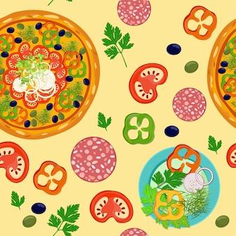 Naadloos patroon met pizza.