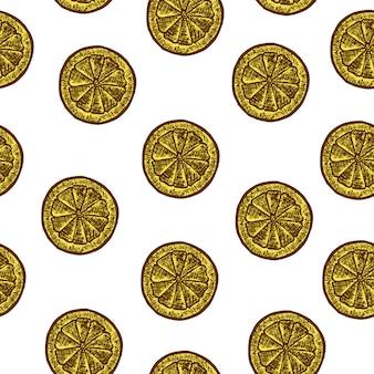 Naadloos patroon met plak van citroenen. vector schets illustratie. hand getekend