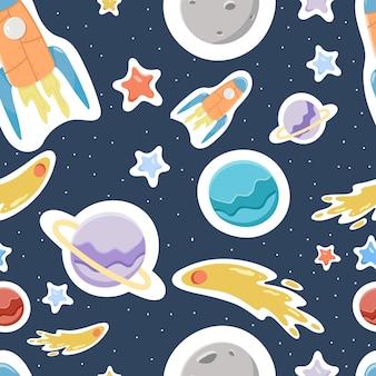 Naadloos patroon met planeten, raketten, de ruimte.