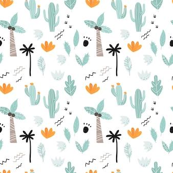 Naadloos patroon met planten