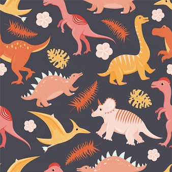 Naadloos patroon met platte cartoon dinosaurussen.